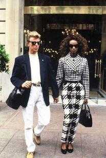 David Bowie et Iman a Paris pour la fete de la musique. FRANCE - 23/06/1991