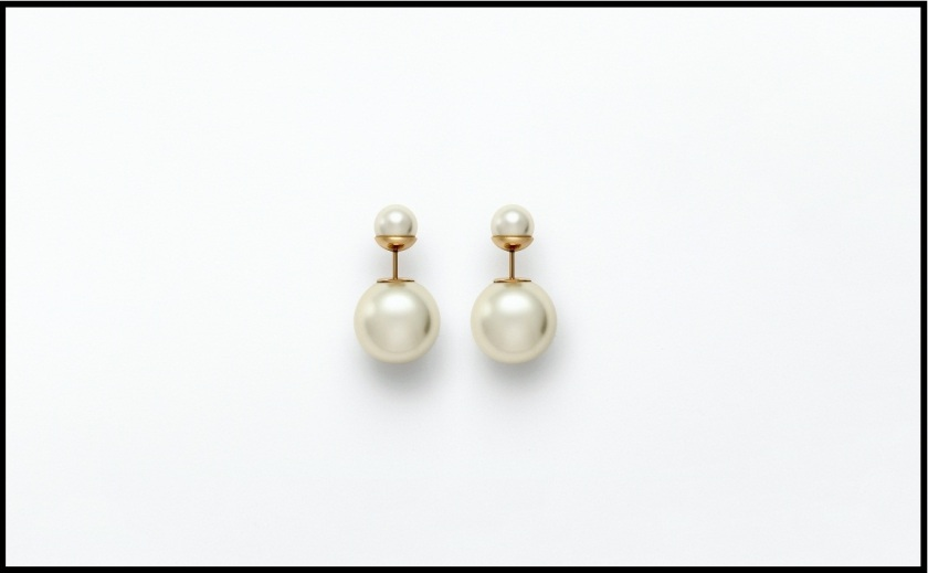 Dior double pearl earrings
