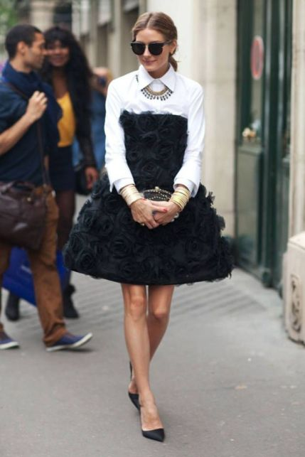 olivia palermo strapless dress with shirt
