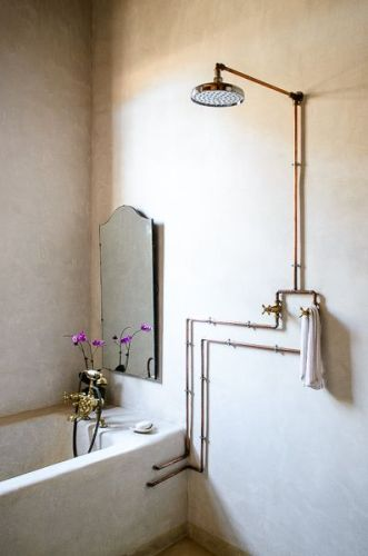 copper piped shower