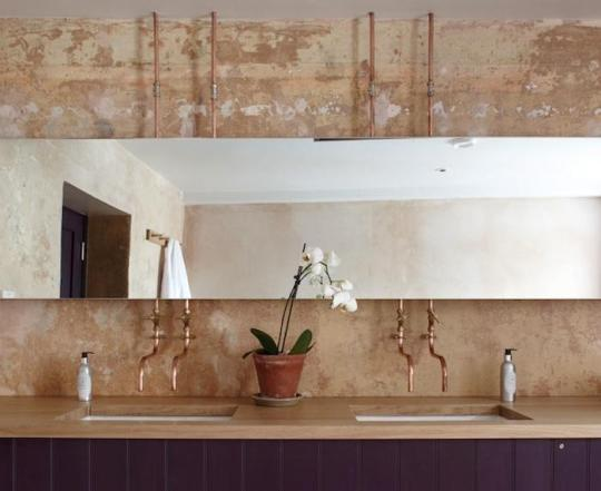 copper pipes bathroom