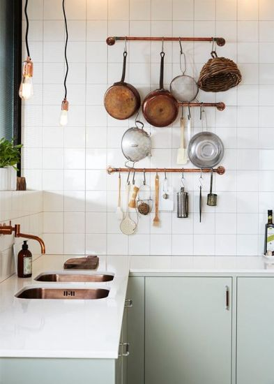 copper piping kitchen rack