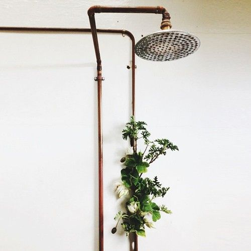 copper piping showerhead