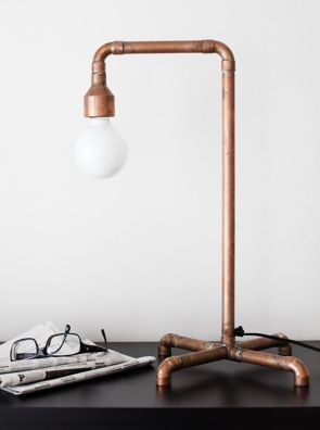 copper piping table lamp
