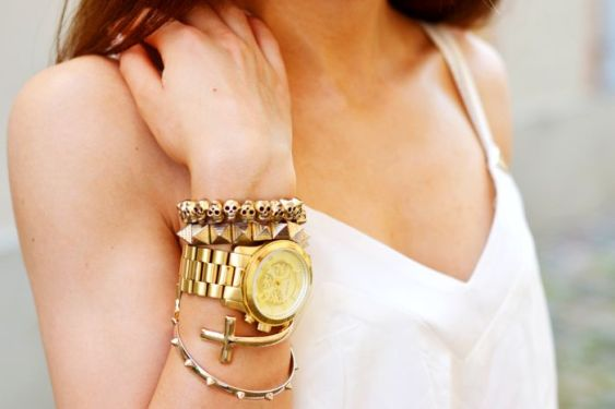 gold watch and accessories