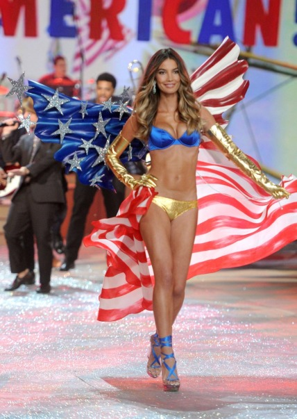 lily aldridge american flag victorias secret