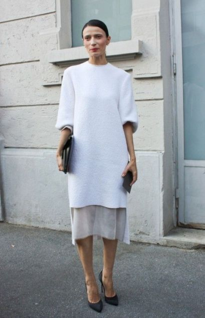 minimal layered white gown