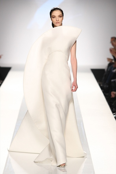 sculptural white dress
