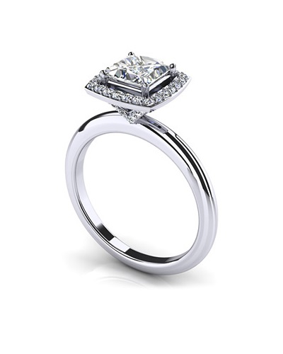 Anjolee Radiant Princess Cut Engagement Ring