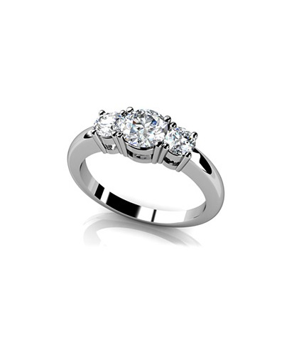 Anjolee Rounded Band 3 Stone Engagement Ring