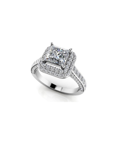 Anjolee Princess Cut Double Halo Engagement Ring