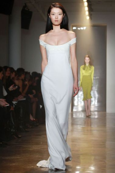 A model on the runway at the Cushnie et Ochs fall 2014 show at Milk Studios.