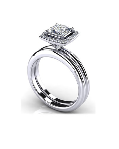 Anjolee Radiant Princess Cut Diamond Wedding Set