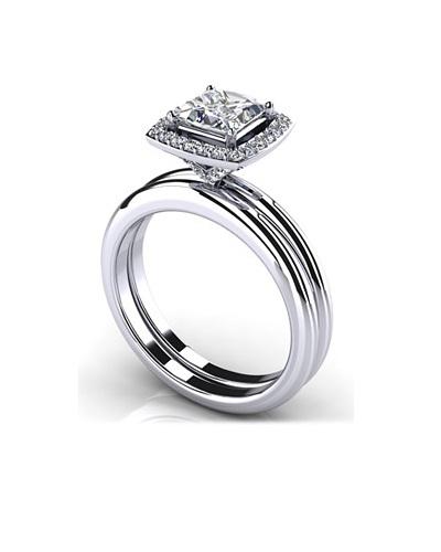 Anjolee Radiant Princess Cut Diamond Wedding Set