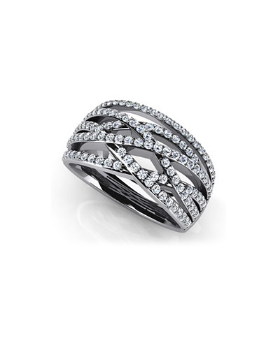 Anjolee Prong Set Designer Diamond Anniversary Ring