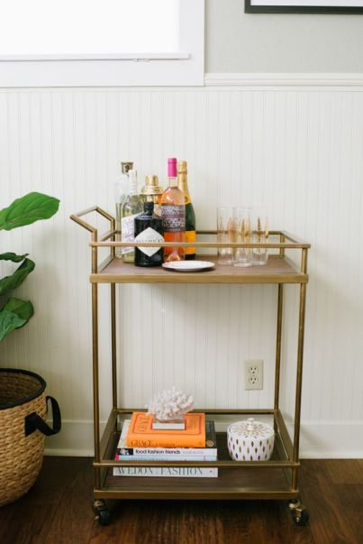 a simple bar cart
