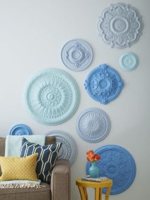 blue plates wall decor