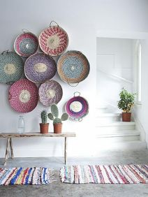 colorful baskets wall decor