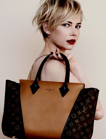 michelle williams lv ad Deep red lips