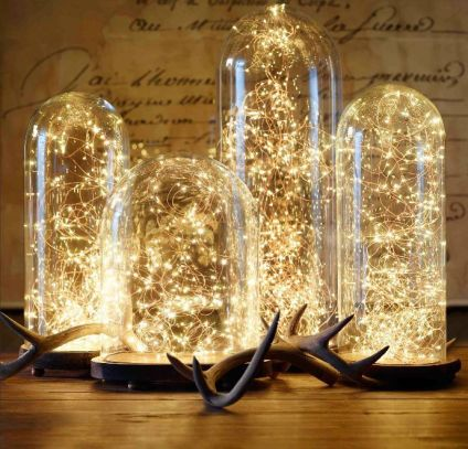 firefly string lights in glass domes